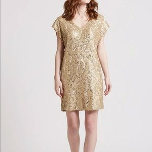 Marie Oliver Andi gold sequin shift dress